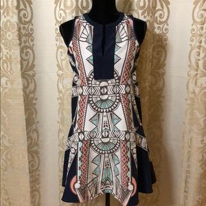 Bar III Blue tent dress with prints size xs